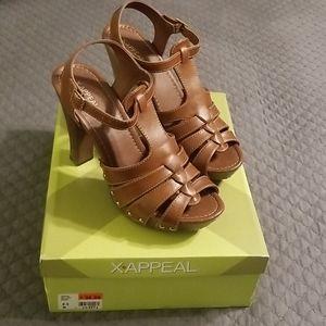 Brown Strappy Platform Heels